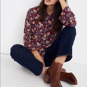 Like new Madewell bell sleeve floral tie top